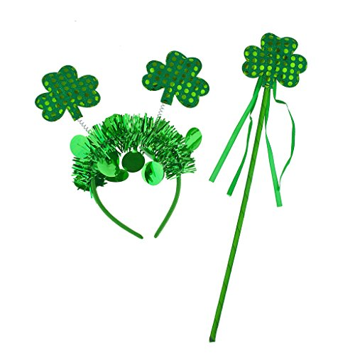 Lux Accessories Green St. Patrick's Day Parade Shamrock Party Accessory Set 2PC -