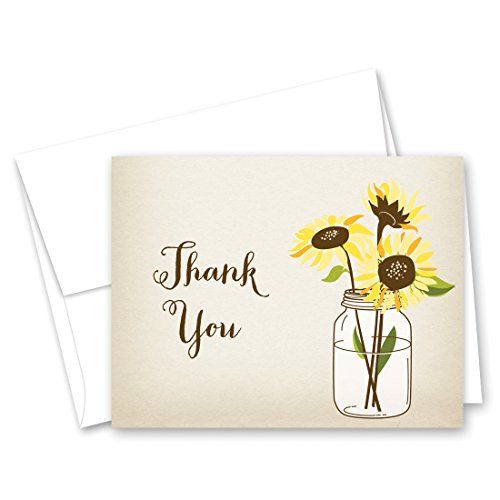 - 50 cnt Sunflowers Thank You Cards (Rustic)