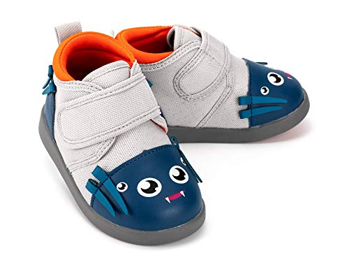 ikiki Spider Squeaky Shoes for Toddlers w/Adjustable Squeaker, Gray Girl or Boy Shoes (Size 7, Silk Von Webster) ()