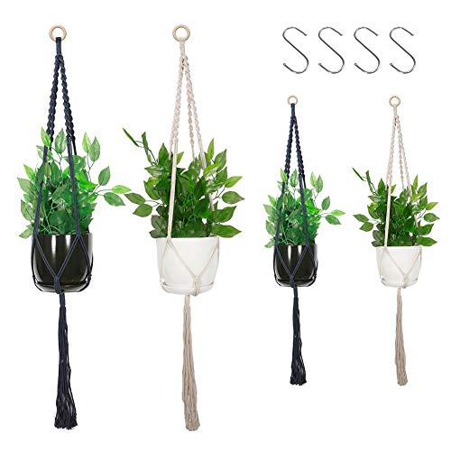 Amabana Macrame Plant Hanger, 4packs Hanging Plant Holders White and Dark Blue, Indoor Outdoor Wall Hanging Planter for Modern Hoho Home Decoration(47