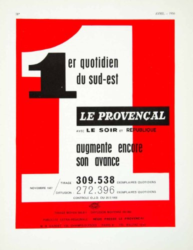 1958 Ad Provencal French Daily Southest France Soir Republique Readers Figures - Original Print Ad (Print Provencal)