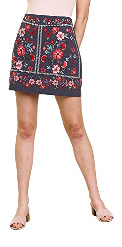Umgee Thats My Girl! Heavily Embroidered Mini Skirt (New Cool Grey, Small)