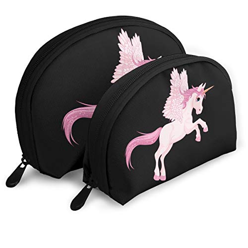 YyTiin Cute Pink Pegasus Unisex Durable Travel Cosmetic Storage Assorted Portable Bags Clutch Pouch Gift 2Pcs