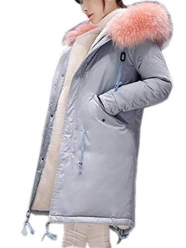 Grueso Blau1 Manga Outerwear Cazadoras Invierno Adelina Otoño Parka Larga Terciopelo Cómodo Retro Abrigos Informales Bolsillos Mujer Capucha Cremallera Con Fashion Capa 6wzwR4