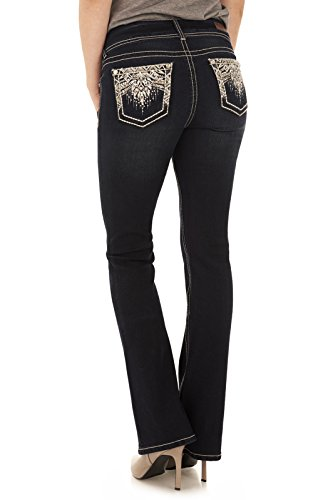 WallFlower Women's Juniors Luscious Curvy Embellished Bootcut Jeans In Kaylee, 7 Juniors Embellished