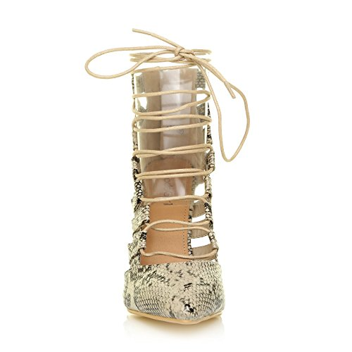 82093ef7954f Fergie Black   Nude Faux Suede Caged Lace Up Pointed High Heels  Amazon.co. uk  Shoes   Bags
