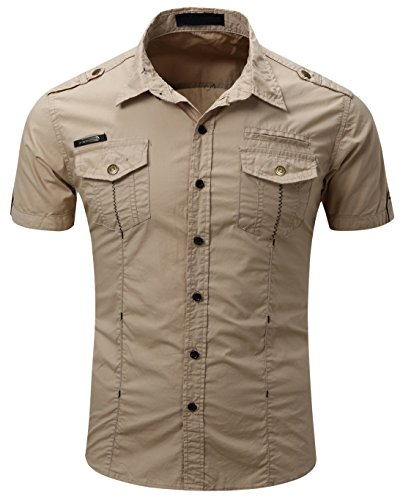 Mens Military Stylish Button Front Slim Fit Short Sleeve Cotton Shirts