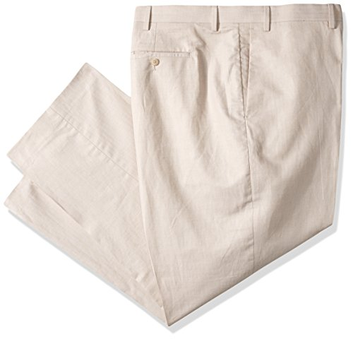 Cubavera Men's Big and Tall Linen-Cotton Herringbone-Textured Pant, Natural, 44W X 34L ()