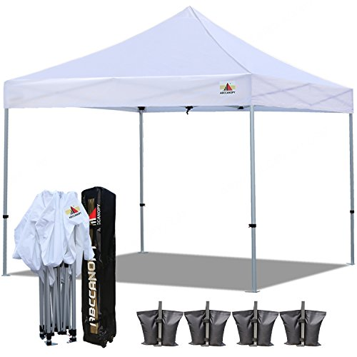 Canopy Roller Bag (ABCCANOPY PRO-40 10 X 10 Ez Pop up Canopy Commercial Instant Gazebos with Roller Bag and 4x Weight Bag (White))