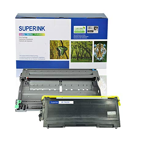 SuperInk 2 Pack Compatible Toner Cartridge & Drum Unit Set Compatible for Brother TN350 DR350 use in DCP-7010 HL-2030 HL-2070N Intellifax 2820 MFC-7220 Printer (1 Toner, 1 Drum)