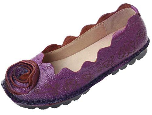 Vogstyle Mujeres Primavera/Verano Vintage Flores Hecho A Mano Cuero Zapatos Stile 8-Viola
