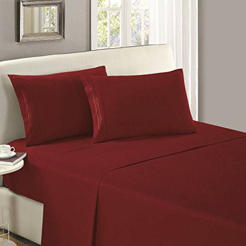 Mellanni Flat Sheet Twin Burgundy - HIGHEST QUALITY Brushed Microfiber 1800 Bedding Top Sheet - Wrinkle, Fade, Stain Resistant - Hypoallergenic - (Twin, Burgundy)