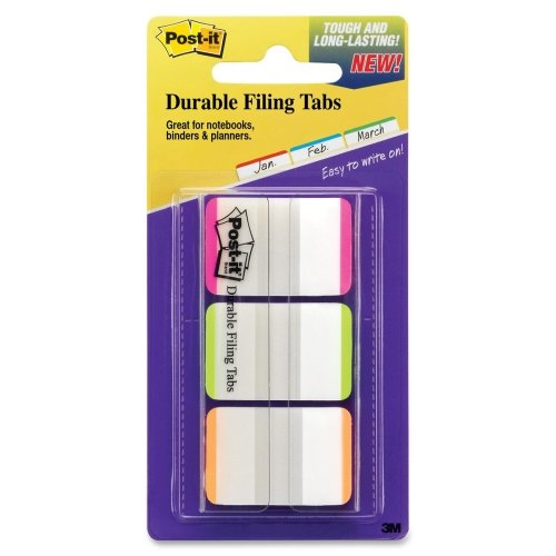 Wholesale CASE of 25 - 3M Post-it Durable Repositionable File Tabs-Durable File Tabs, 1''Striped, 66/PK, 22 ea Pink/Green/Orange