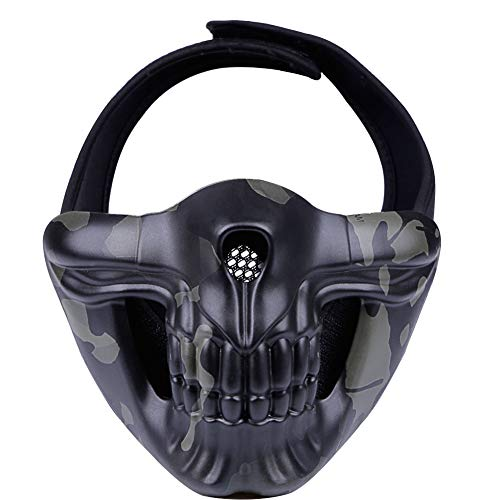 Outry Half Face Mask, Lower Face Protective Mask for Airsoft/Paintball/BB Gun/CS Game/Hunting/Shooting, Skull Mask for Halloween, Cosplay, Costume Party and Movie Prop (Black Multicam/BCP) -