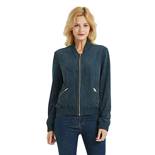 PANAPA Women's Faux Suede Bomber Jacket with Zipper - Bomber Suede Jacket