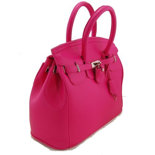 Hobo Costume Images (THG Gorgeous PU Faux Leather Safety Padlock Designer Inspired Shopper Hobo Tote Bag Handbag Carry Bag Rose Pink)