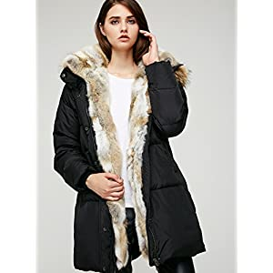 Escalier Women`s Down Coat With Real Raccoon Fur Hooded Parka Jacket Black XL