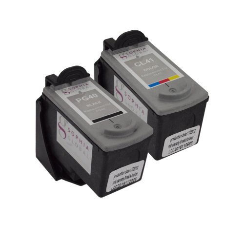 Sophia Global Remanufactured Ink Cartridge Replacement for Canon PG-40 and CL-41 with Ink Level Display (1 Black, 1 Color)