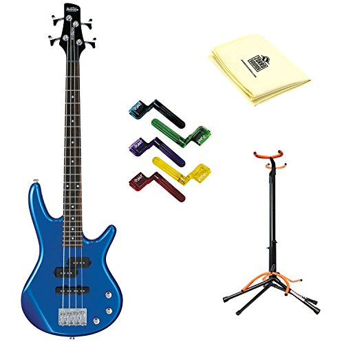 Ibanez GSRM20 Mikro Short-Scale Bass Guitar in Starlight Blue with Polishing Cloth, Stand, and Pegwinders