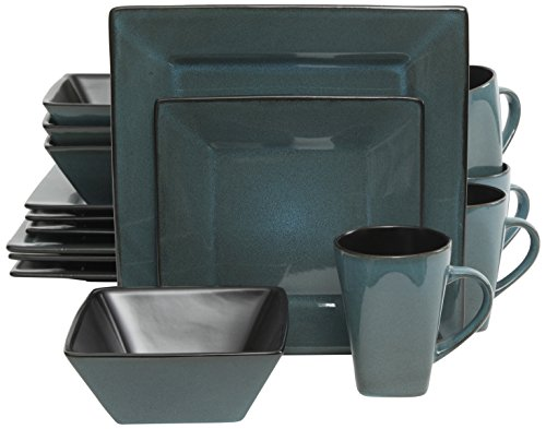 Gibson Elite Kiesling 16 Piece Dinnerware Set, Turquoise (Square 16 Dinnerware Set Piece)