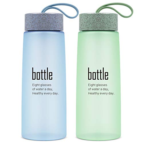 (Syntus 2 Pack Sports Water Bottle Clear Plastic Drink Bottles BPA Free Big Mouth Leak Proof Fast Flow for Daily Use Outdoor Hiking Camping Travel)