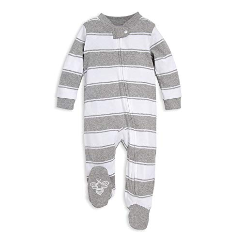 Burt's Bees Baby Baby Sleep & Play, Organic One-Piece Romper-Jumpsuit PJ, Zip Front Footed Pajama, Heather Grey Stripes 6-9 Months