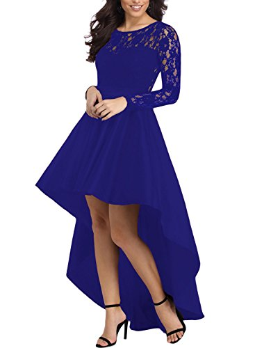 Elapsy Womens Sexy Long Sleeve Lace High Low Satin Prom Evening Party Wedding Dress Cocktail Gowns Blue Medium -