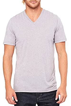 Bella Canvas Men's Triblend Fit V-Neck T-Shirt, Athletic Grey Triblend, Small