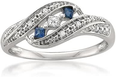 14k White Gold Princess-cut & Round Diamond & Blue Sapphire Fashion Band Ring (1/5 cttw, H-I, I1-I2)