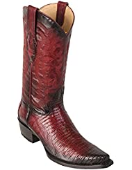 Mens Snip Toe Genuine Leather Teju Lizard Skin Western Boots - Exotic Skin Boots