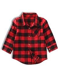 749385e8 Baby Boys Girls Red Plaid Shirts Infant Boy Girl Long Sleeve Pocket Tops