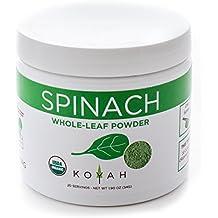 KOYAH - Organic Spinach Powder (Equivalent to 20 Cups Fresh): Whole-Leaf Powder, 100% Freeze-Dried