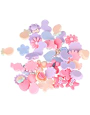 SUPVOX 40pcs Flatback Resin Flowers Cabochon Embellishments for Craft Jewelry Making DIY Headband