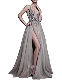 Prom Dresses Sexy Deep V Neck Sequins Tulle and Lace Sex High Split Long Evening Dresses