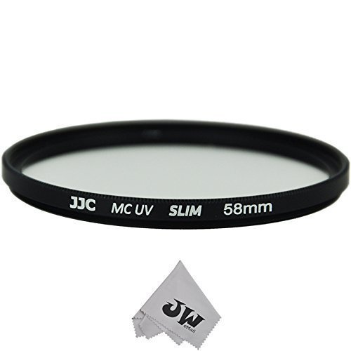 JJC 58mm UV Filter For Canon EF 70-300mm 85mm 50mm 75-300mm 55-250mm 18-55mm 28mm 55-250mm 24mm +JW Cleaning Cloth