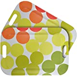"""WUMN Colorful Plastic Serving Tray with Handles, BPA-free Safety Fast Food Tray, Rectangular Melamine Tray 17"""" x 12"""",Serving Plate and Platters - Set of 2"""