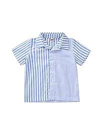 MAOMAHREWW Unisex Babies Stripe Blue&White Stripe Stitching Polo Shirt Short Sleeve Tops