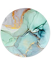 ITNRSIIET [20% Larger] Mouse Pad with Stitched Edge Premium-Textured Mouse Mat Waterproof Non-Slip Rubber Base Round Mousepad for Laptop Computer PC Office 8.7×8.7×0.12 inches Modern Marbling