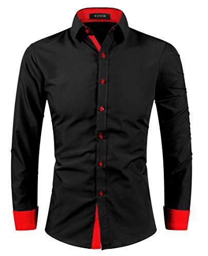 Kuson Herren Hemd Bügelleicht aus Baumwolle Kentkragen Hemden Slim Fit Anzug mit Kontrasten Rot S