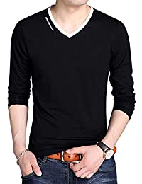 Men's V-Neck Casual Slim Fit Long/Short Sleeve Fashion T-Shirts Cotton Shirts