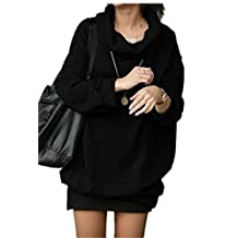 Ilishop Women's Cowl Neck Loose Over Size Knit Pullover Casual Outerwear Hoodie