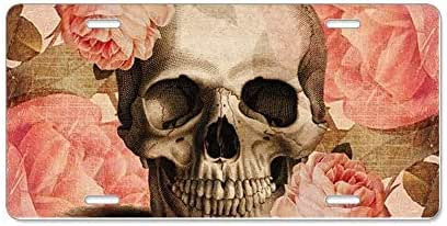 Yaoqin88 Vintage Rosa Skull Collage Aluminum License Plate, Front License Plate, Personality Vanity Tag 6
