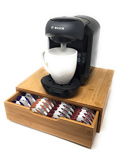 -[ Tassimo Coffee Pod Holder   64 Pod Storage   Bamboo   Eco-friendly   Luxury   Stylish   Modern  