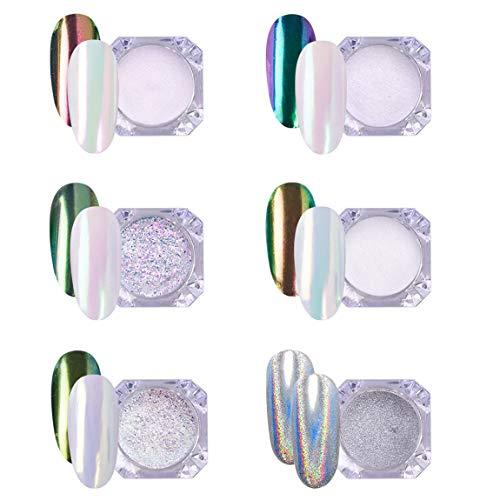 AIMEILI 6 colors Efecto Espejo Unas Polvo Acrilico Para Unas Esmalte de Unas Cromo Pigmento Brillo y decoracion de unas Manicura Decoracion Chrome Rainbow Camaleon Unas Mirror Nail Glitter Powder