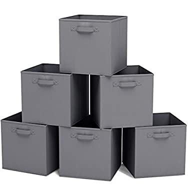 Closet Organizer - Fabric Storage Basket Cubes Bins - 6 Grey Cubeicals Containers Drawers