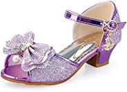 Girls Princess Shoes Bows Party Shoes Sparkle Wedding Dress Little Girls Low Chunky Heel Shoes Strap Buckle