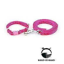 "HAND-IN-HAND 2pcs Set Giraffe Stripe Collar & Leash 47.2"" Long for Pet Small Dog Cat Pink S"