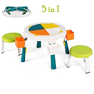 Costzon 5-in-1 Kids Table and 2 Chairs Set, Foldable Multi Activity Table Set w/ 4 Storage Box, Height Adjustable Children Round Water Table and Craft Table for Playing Sand, Building Blocks (Green)