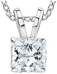 "0.74 Carat Princess Diamond Solitaire Pendant Necklace H-I Color VS1-VS2 Clarity w/ 16"" 14K Gold Chain"