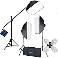 StudioFX H9004SB2 2400 Watt Large Photography Softbox Continuous Photo Lighting Kit 16 x 24 + Boom Arm Hairlight with Sandbag H9004SB2 by Kaezi